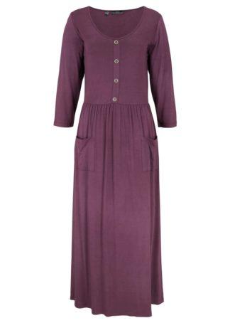 Długa sukienka z plisą guzikową