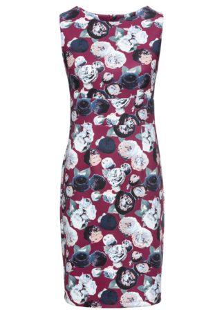 Sukienka neoprenowa ze stretchem bonprix jeżynowy w kwiaty