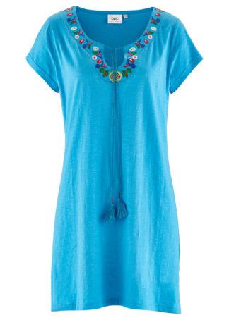 Sukienka z dżerseju z fantazyjnej przędzy bonprix turkusowy