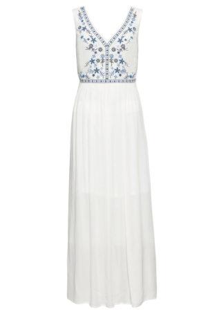 Długa sukienka z haftem bonprix biel wełny