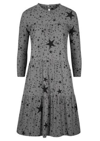 Sukienka z dżerseju z wolantami bonprix szary melanż - czarny z nadrukiem