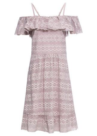 Sukienka off-shoulder z koronki bonprix matowy jasnoróżowy