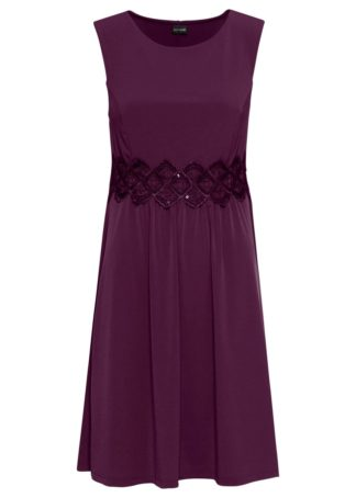 Sukienka z dżerseju z koronkową wstawką bonprix czarny bez