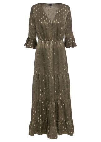 Długa sukienka z połyskiem bonprix khaki-złocisty