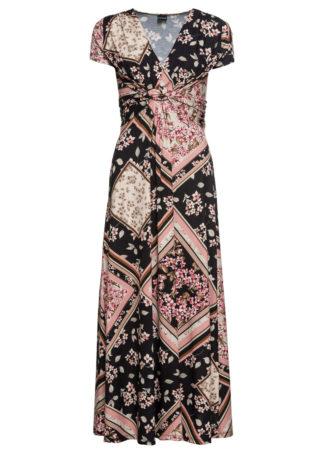 Długa sukienka z dżerseju z nadrukiem bonprix jasnoróżowo-czarny z nadrukiem