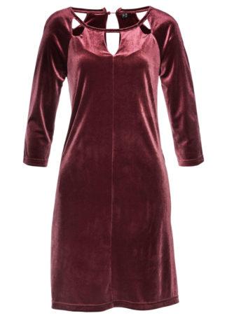 Sukienka shirtowa z aksamitu bonprix czerwony klonowy