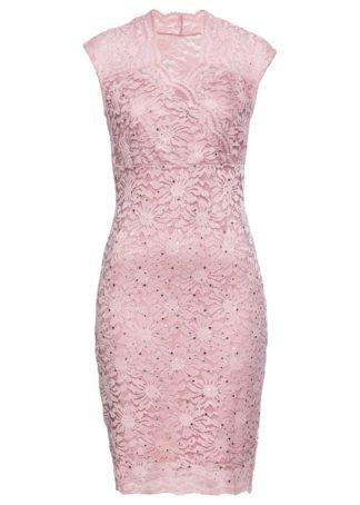 Sukienka koronkowa z cekinami bonprix dymny jasnoróżowy