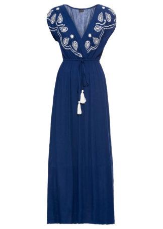 Długa sukienka z haftem bonprix głęboki morski - biel wełny