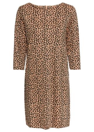 Sukienka z dżerseju w cętki leoparda bonprix pudrowo-beżowy - leo