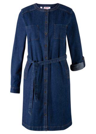 Sukienka dżinsowa ze stretchem bonprix niebieski