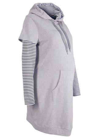 Sukienka ciążowa dresowa bonprix jasnoszary melanż