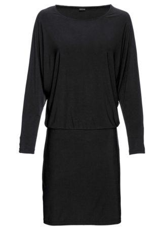 Sukienka shirtowa z rękawami kimonowymi bonprix czarny