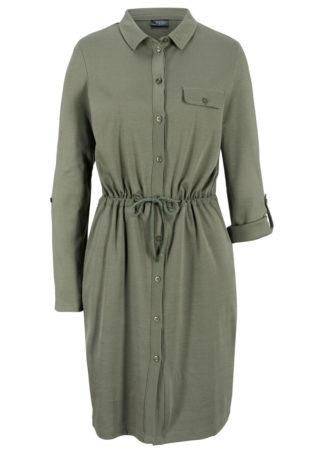 Sukienka koszulowa z dżerseju bonprix oliwkowy