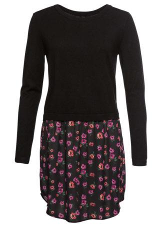 Sweter z wstawką w optyce spódnicy bonprix czarno-lila