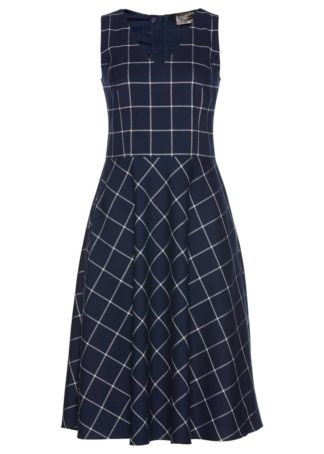 Sukienka ołówkowa w kratę bonprix ciemnoniebiesko-biały w kratę