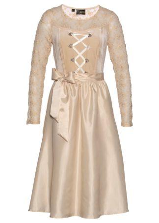 Sukienka ludowa aksamitna Premium bonprix w kolorze szampana