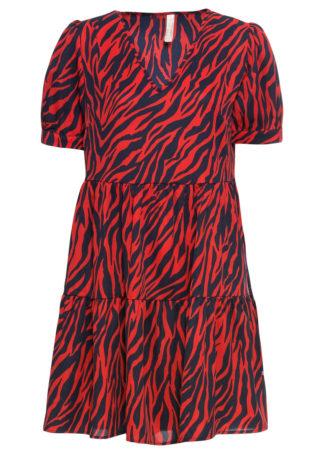 Sukienka z nadrukiem bonprix czerwono-ciemnoniebieski