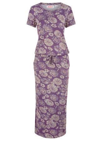 Sukienka z dżerseju z nadrukiem bonprix matowy lila z nadrukiem