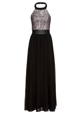 Sukienka wieczorowa z dekoltem halter bonprix czarno-czerwono-niebieski