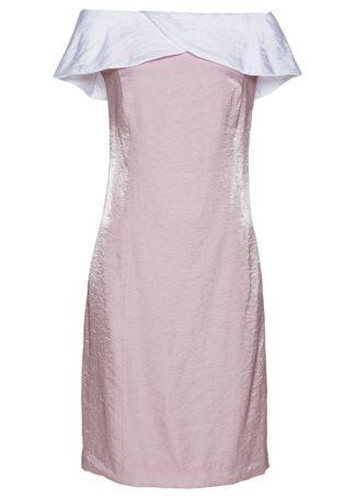 Sukienka z dekoltem carmen bonprix matowy jasnoróżowy - biały