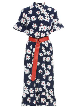 Sukienka z paskiem bonprix ciemnoniebiesko-biały w kwiaty