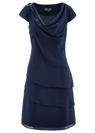Sukienka szyfonowa w optyce warstwowej bonprix ciemnoniebieski