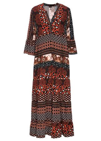 Długa sukienka z nadrukiem bonprix czarno-koniakowy wzorzysty
