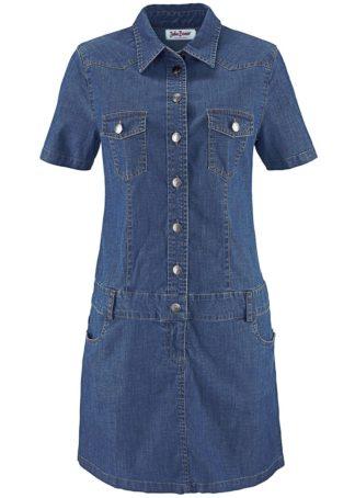 Sukienka dżinsowa ze stretchem bonprix ciemnoniebieski