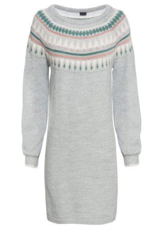 Sukienka dzianinowa w norweski wzór bonprix szary melanż