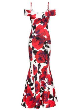 Sukienka cold-shoulder w róże bonprix biało-czarno-czerwony w kwiaty