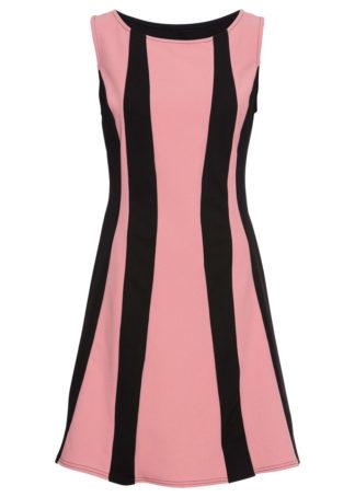 Sukienka z dżerseju bonprix jasnoróżowo-czarny