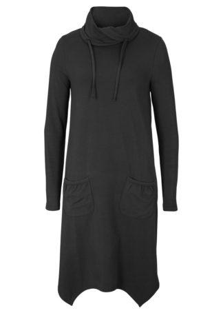 Sukienka shirtowa z golfem i kieszeniami Loose Fit bonprix czarny