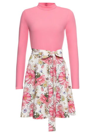 Sukienka w kwiaty bonprix różowo-biały w kwiaty