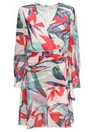 Sukienka szyfonowa bonprix pastelowz zielony w kwiaty
