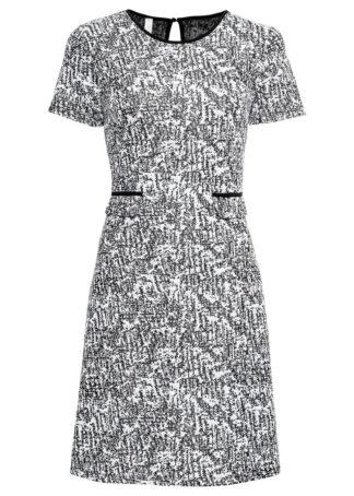 Sukienka bonprix biało-czarny leo z nadrukiem