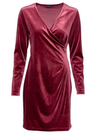 Sukienka aksamitna kopertowa bonprix czerwony klonowy