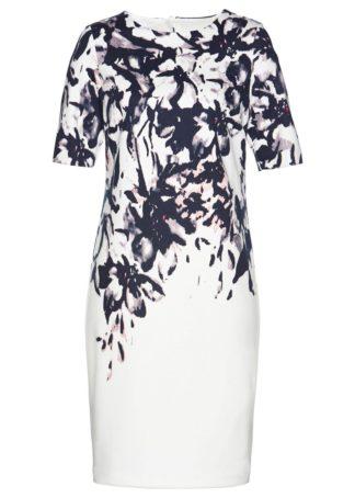 Sukienka bonprix biel wełny z kolorowym nadrukiem