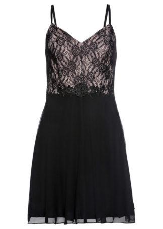 Sukienka z koronką bonprix czarno-cielisty