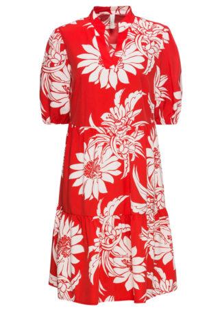 Sukienka w kwiaty bonprix czerwono-biały w kwiaty