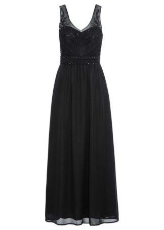 Sukienka wieczorowa z aplikacjami bonprix czarny