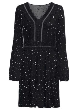 Sukienka w kropki bonprix czarno-biel wełny w kropki