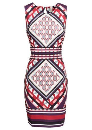 Sukienka ołówkowa z nadrukiem bonprix ciemnoczerwono-szaro-ciemny lila