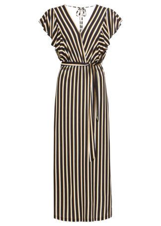 Długa sukienka bonprix czarno-biały w paski