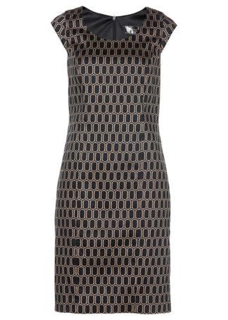 Sukienka ołówkowa z nadrukiem bonprix brunatno-czarny