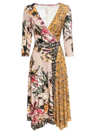 Sukienka z dżerseju bonprix beżowo-ciemnożółty z nadrukiem