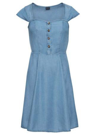 """Sukienka z tencelu z guzikami bonprix niebieski """"stone"""""""