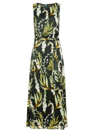 Długa sukienka z nadrukiem bonprix nocny oliwkowy - biel wełny w kwiaty