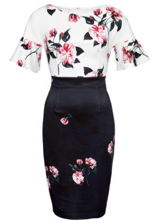 Sukienka w kwiaty bonprix czarno-biały w kwiaty