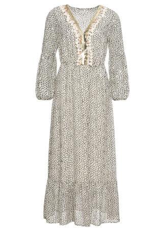 Długa sukienka z nadrukiem i aplikacją bonprix kremowo-czarno-złocisty wzorzysty