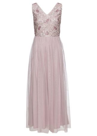 Długa sukienka z aplikacją z perełek bonprix matowy jasnoróżowy